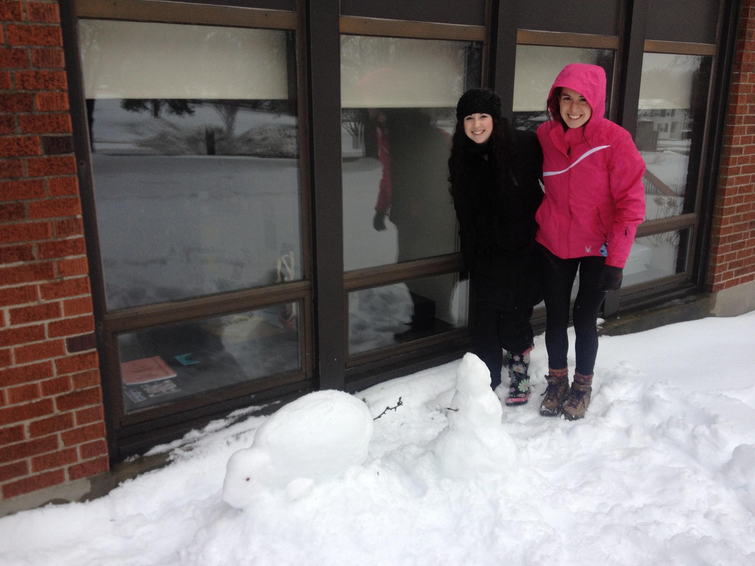 "Lauren & Sharon make a ""snow rat"" outside Dr. Bloom's office-2014"