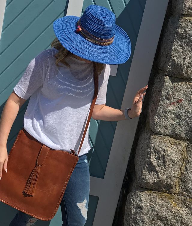 Fedora, lightweight soft sheer cotton blend top and this amazing bag!