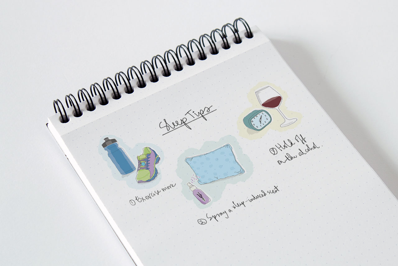 Illustrations done for Misfit Wearable's notebook. 2014.