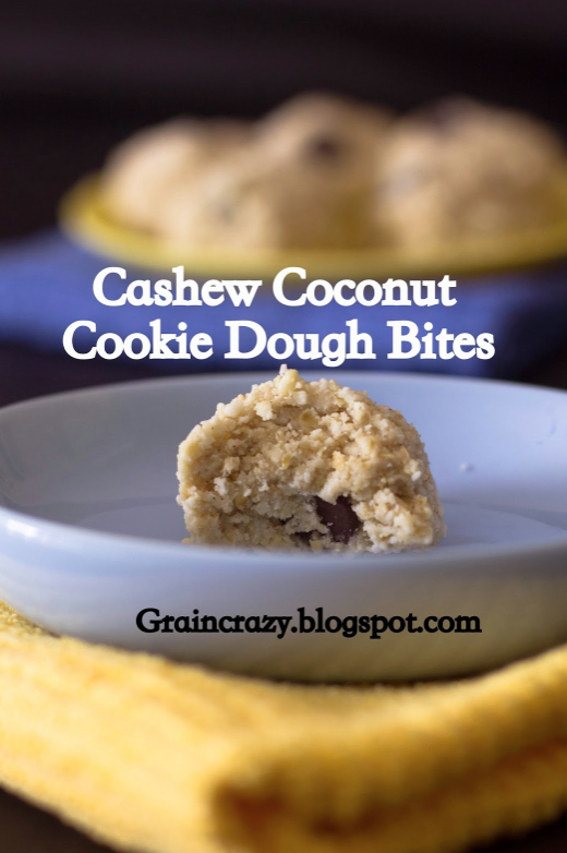 Cashew Coconut Cookie Dough Balls by Grain Crazy  ***  Note: this recipe link is missing 1 Tablespoon of coconut oil! When you make these, make sure to add this to bind everything together!