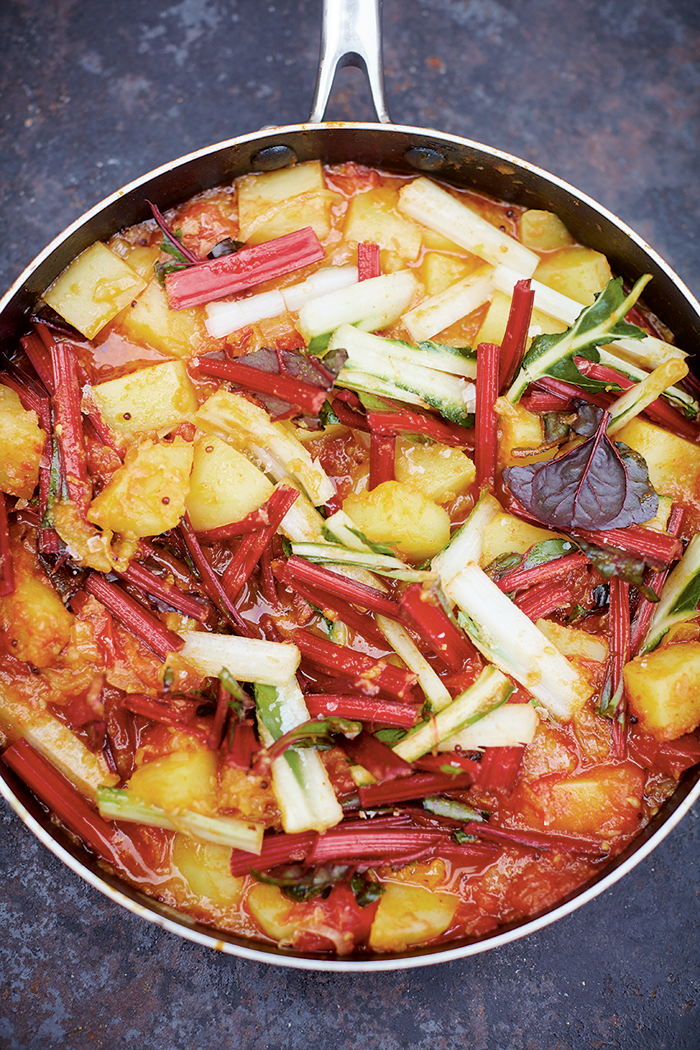 Meera Sodha's rainbow chard sag aloo, making the Oh Comely office hungry.
