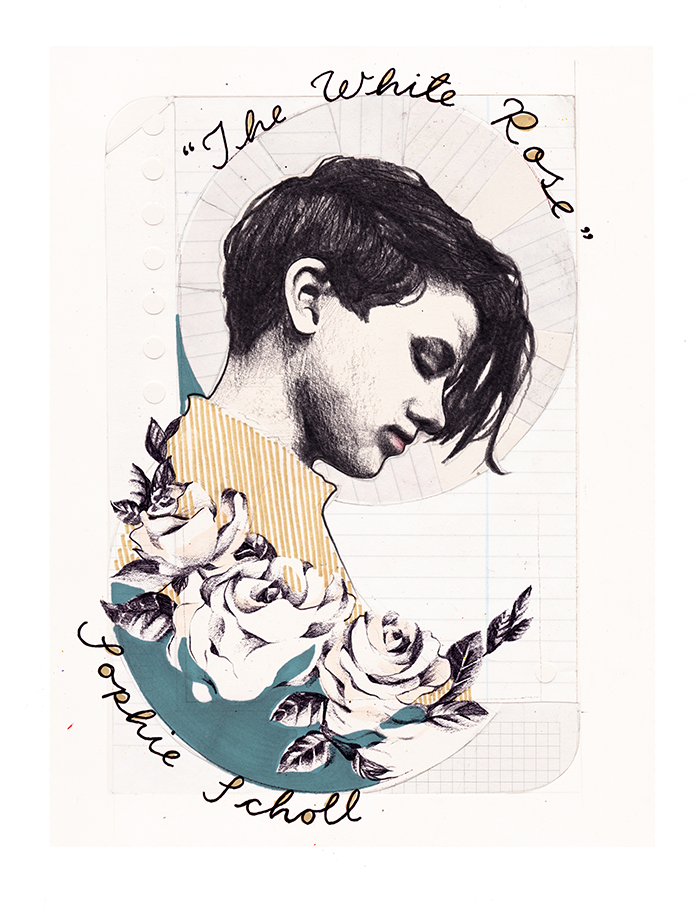 Activist Sophie Scholl, illustrated by Hannah Sunny Whaler for  Oh Comely  issue 32.