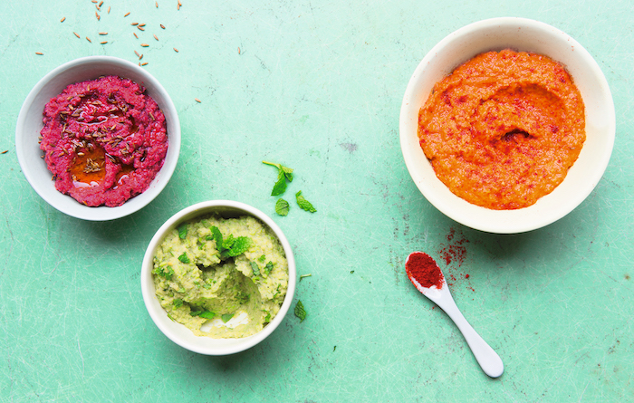 Colourful chickpea-based dips. Photos Andy Sewell