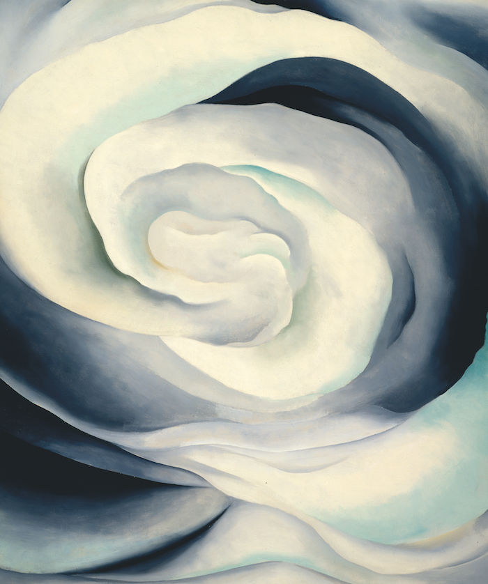 Georgia O'Keeffe, Abstraction White Rose ,1927.  Oil on canvas,36 x 30 (91.4 x 76.2).Georgia O'Keeffe Museum. Gift of TheBurnett Foundation and Georgia O'Keeffe Foundation ©Georgia O'Keeffe Museum