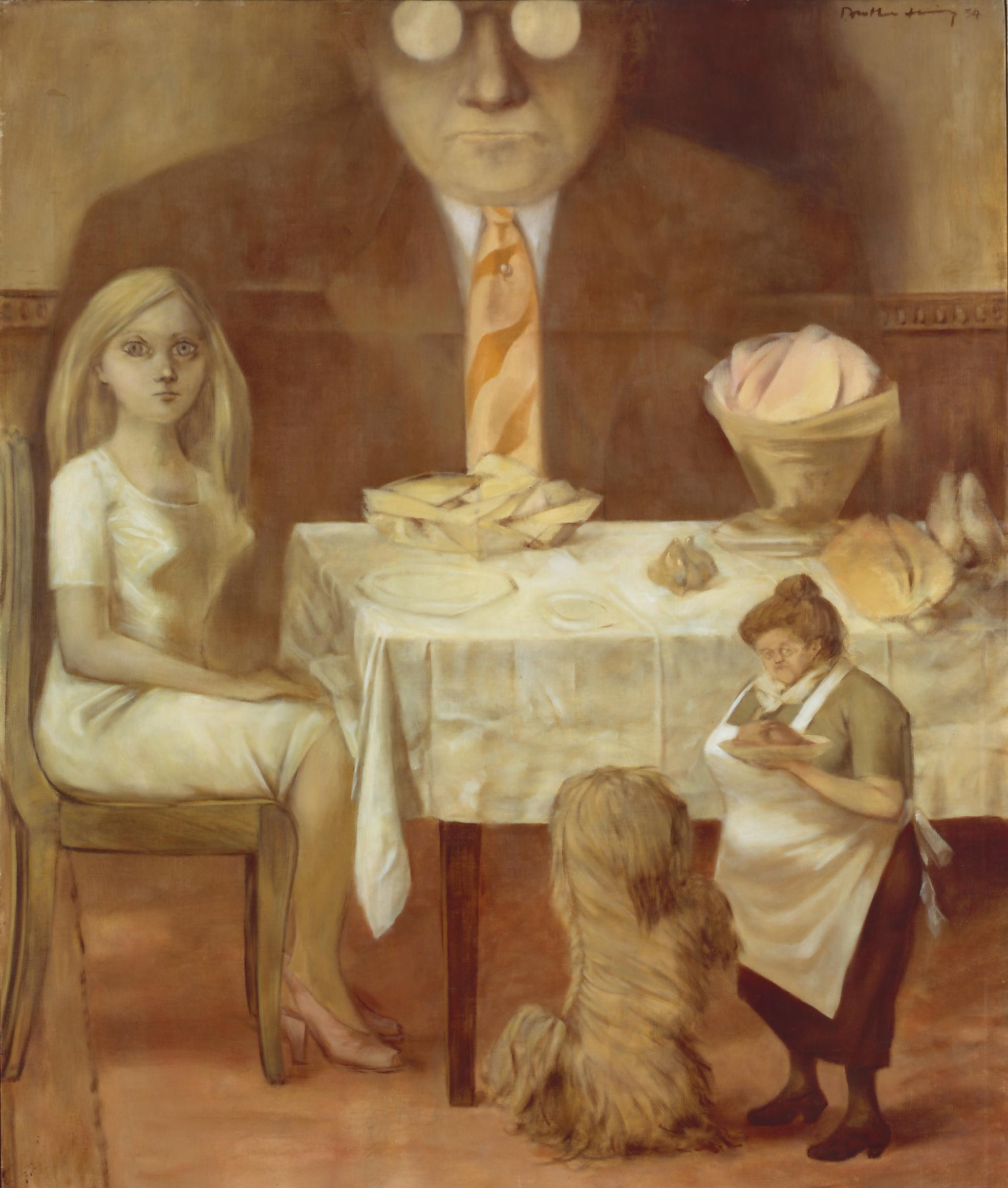 Dorothea Tanning (1910 – 2012),   Family Portrait,  1954 Oil paint on canvas Acquired in 1977. Centre Pompidou, Paris. Musée national d'art modern/ Centre de création industrielle Photo © Centre Pompidou, MNAM-CCI, Dist. RMN-Grand Palais /image Centre Pompidou, MNAM-CCI © DACS, 2018