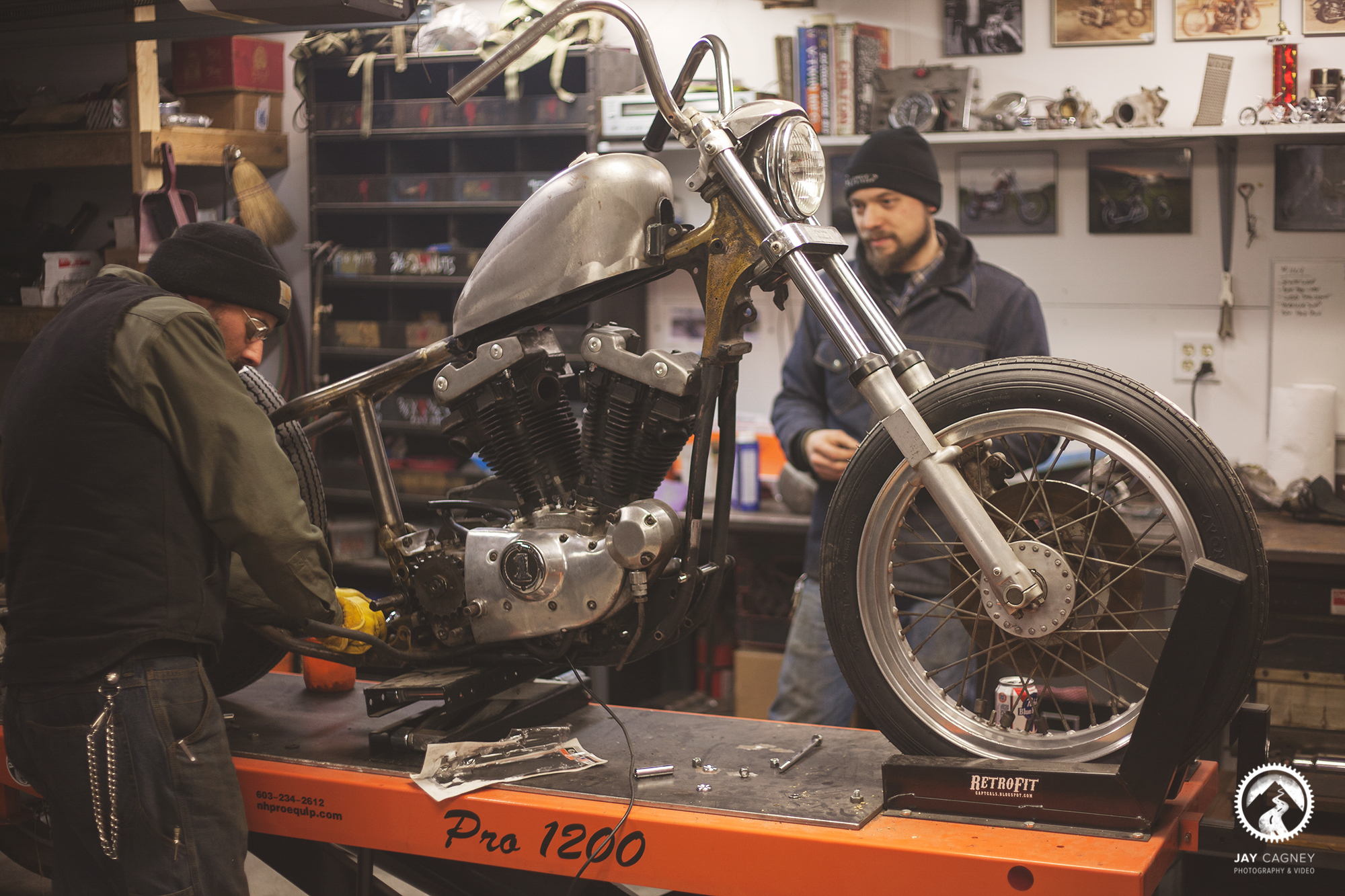 About Retrofit Cycle works - RetroFit started as a blog where Cal posted his father's old photos of motorcycles and adventures from back in the day. Over time, the blog evolved into a place to capture the motorcycle projects that Cal was working on, with the knowledge he gained from his dad. Cal and Ben met through Cal's dad, Joe, back in 2000 when Cal would come to the steel yard to help out on Saturdays. They found they shared a common interest in motorcycles, and started helping each other out with their projects. People started to come to them for help with their bikes, and side work was coming in. The Retrofit shop really came together after building two giveaway bikes for the Strange Days event. Since then, RetroFit has worked on everything from cafe racers, to 70's choppers. Whatever you can dream up, they can make happen.