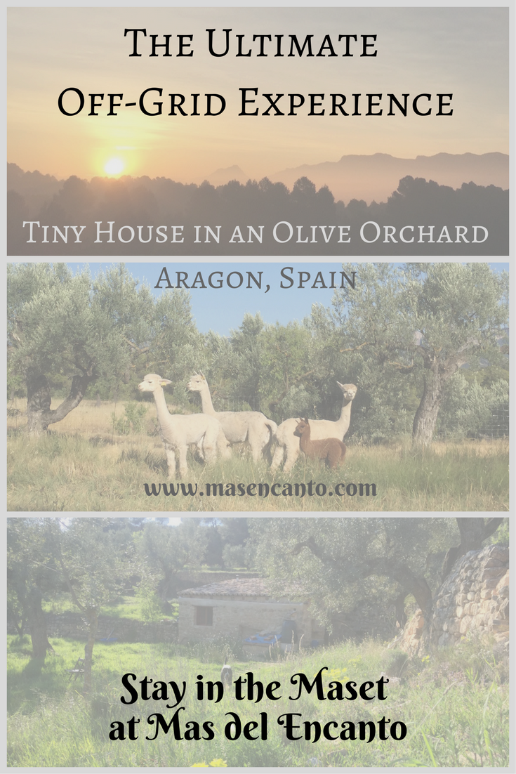 Come and stay in the Maset at Mas del Encanto, our tiny farm and rural retreat in Aragon, Spain. It's your ultimate off-grid experience: from composting toilet to sun-heated shower, from the peace and quiet to the wood stove for the colder nights. What's keeping you?