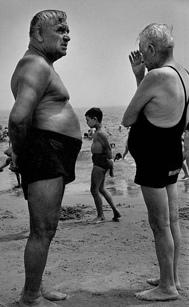 "Copy of ""Two Men and a Boy Contemplate"" by Harold Feinstein"