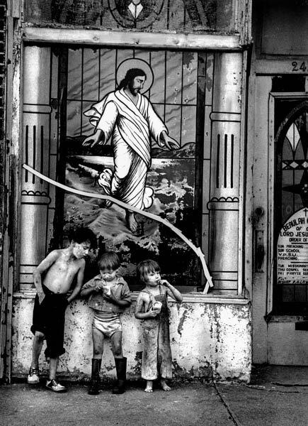 Harold Feinstein - Broken Christ with Children, Coney Island, 1950