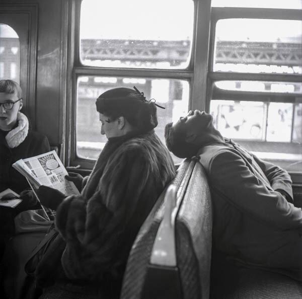 Harold Feinstein - Asleep on the Subway Train, 1947