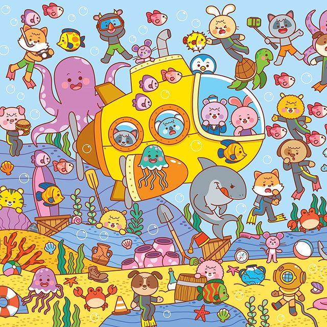 """Hora de buscar a los personajes de: """"Bien escondidos"""" (Pues si, así han decido llamar a esta sección de la revista: """"Jardín de Genios"""") en lo profundo del mar 🐠🐟🦀 Por cierto, este es el busca y encuentra número 32 que me toca ilustrar 😱😱😱 Las ideas ya escasean. (Así que si tienen propuestas para las próximas temáticas, los leo debajo! 👇) 🌟🌟 #drawing #cute #kawaii #childrensillustration #illustration #pamelabarbieri #undertthesea #sea #dibujo #ilustracion"""