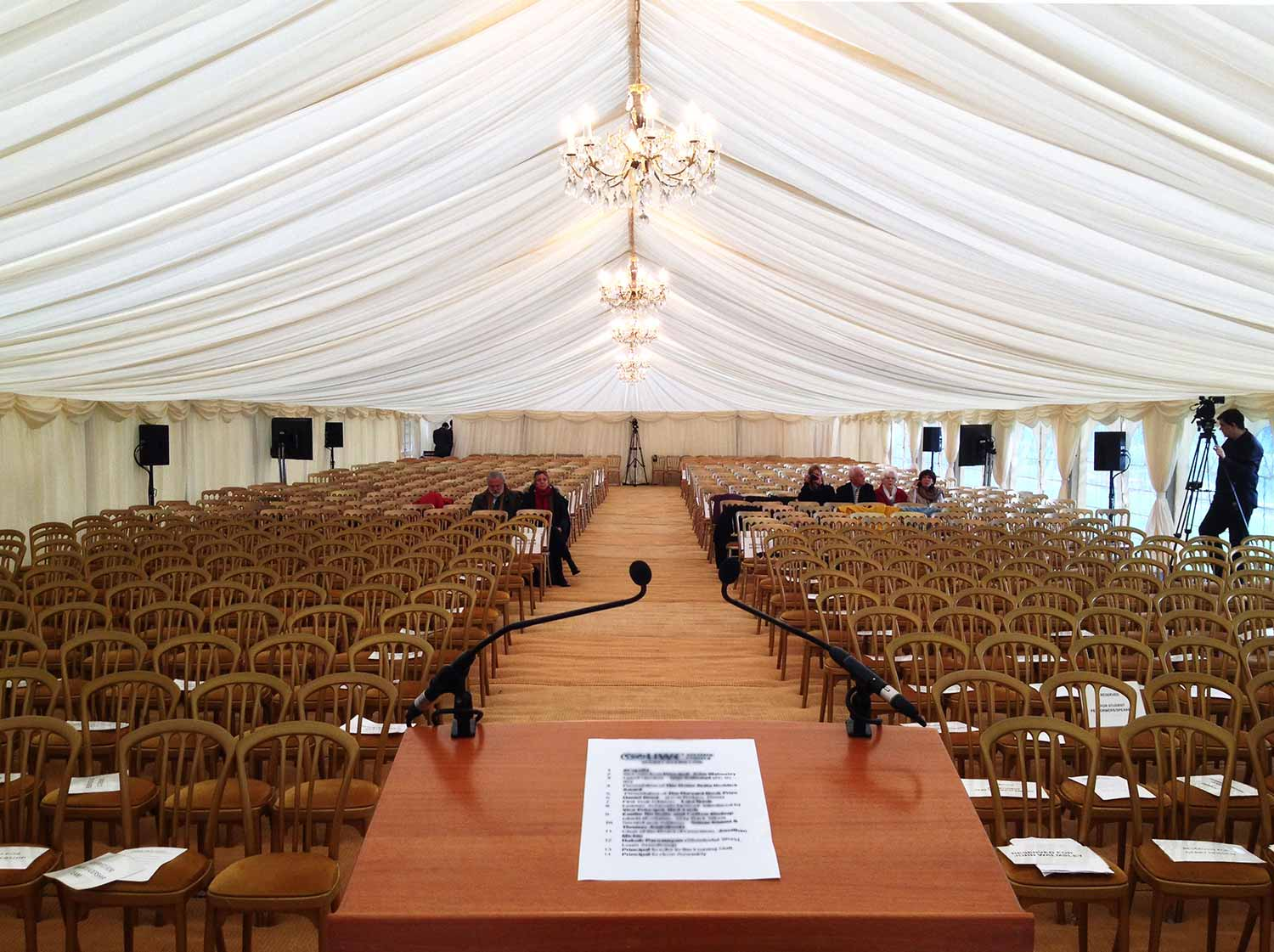Audio visual equipment for conference in marquee with lectern 1500