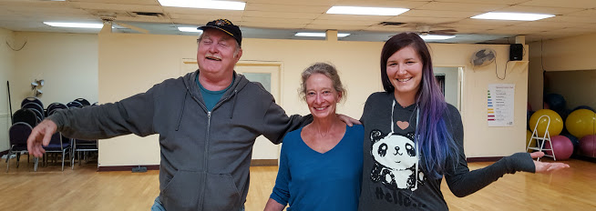 H. D. Bales, Sally Sando and Alli Stienke after a north Binford class, October 2016
