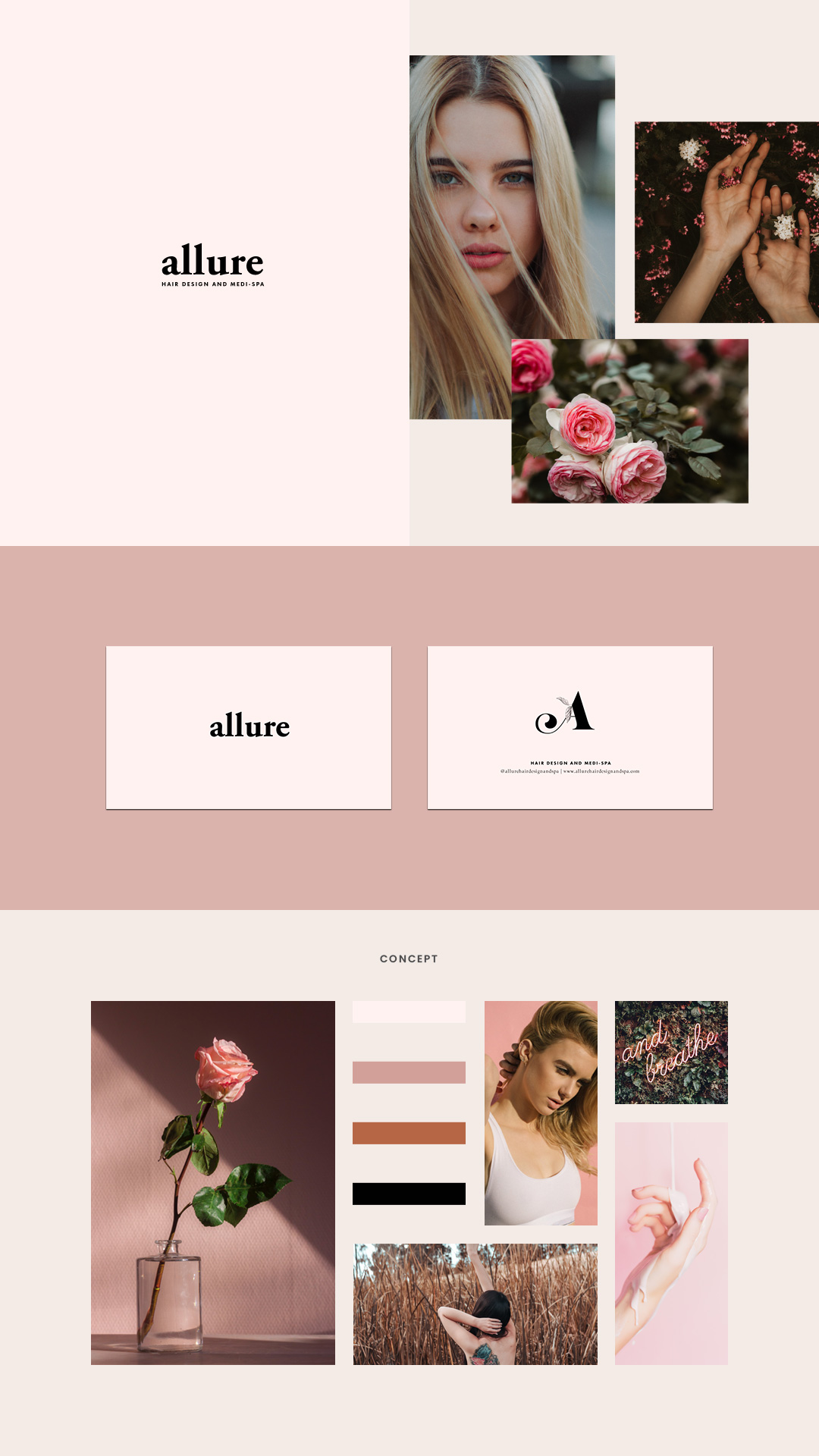 Ottawa Website Designer Brand Board for Allure Hair Design and Medi Spa