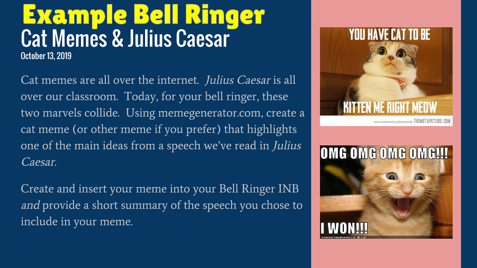 An example of one of my crazy bell ringer ideas..