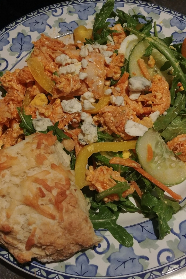 My delicious plate of buffalo chicken salad.  This time I added some homemade Irish soda bread (yup, there's cheese on that).