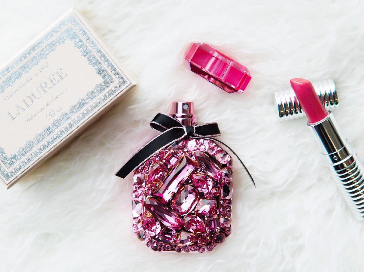 https://www.instagram.com/allure/ featuring Victoria's Secret bejeweled perfume bottle.