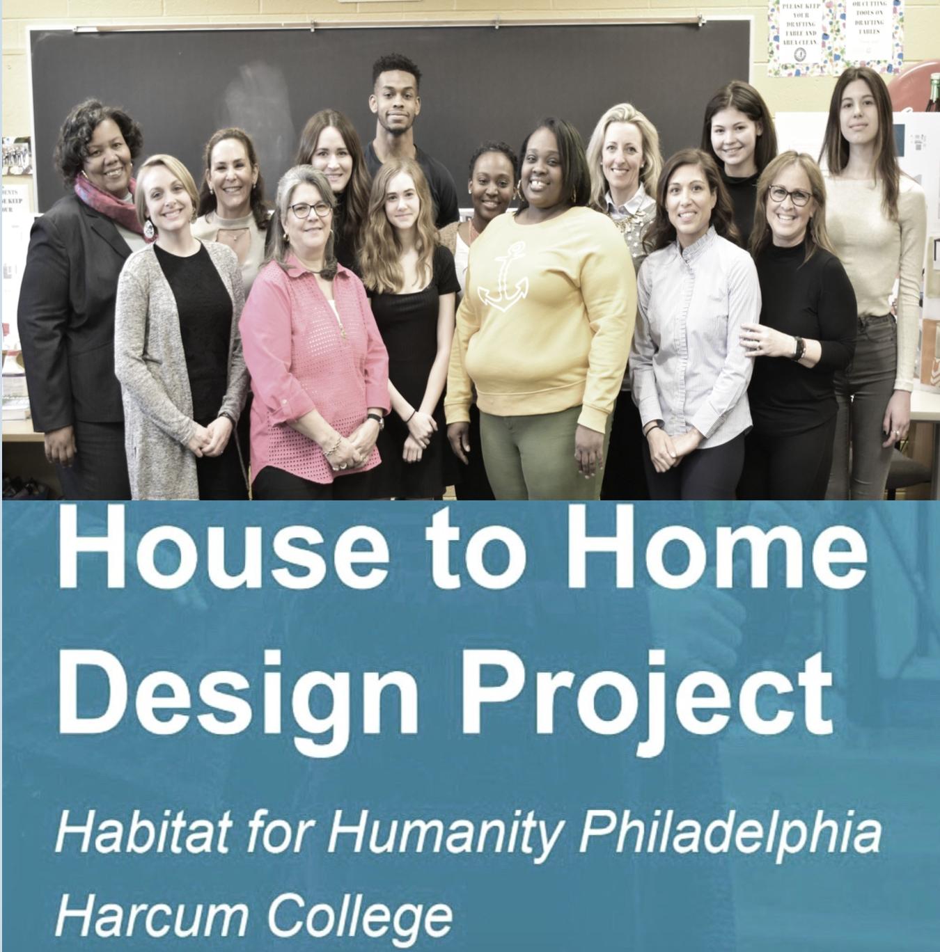 Harcum College interior design students, teachers and habitat staff with Latasha.Click image for student presentations.