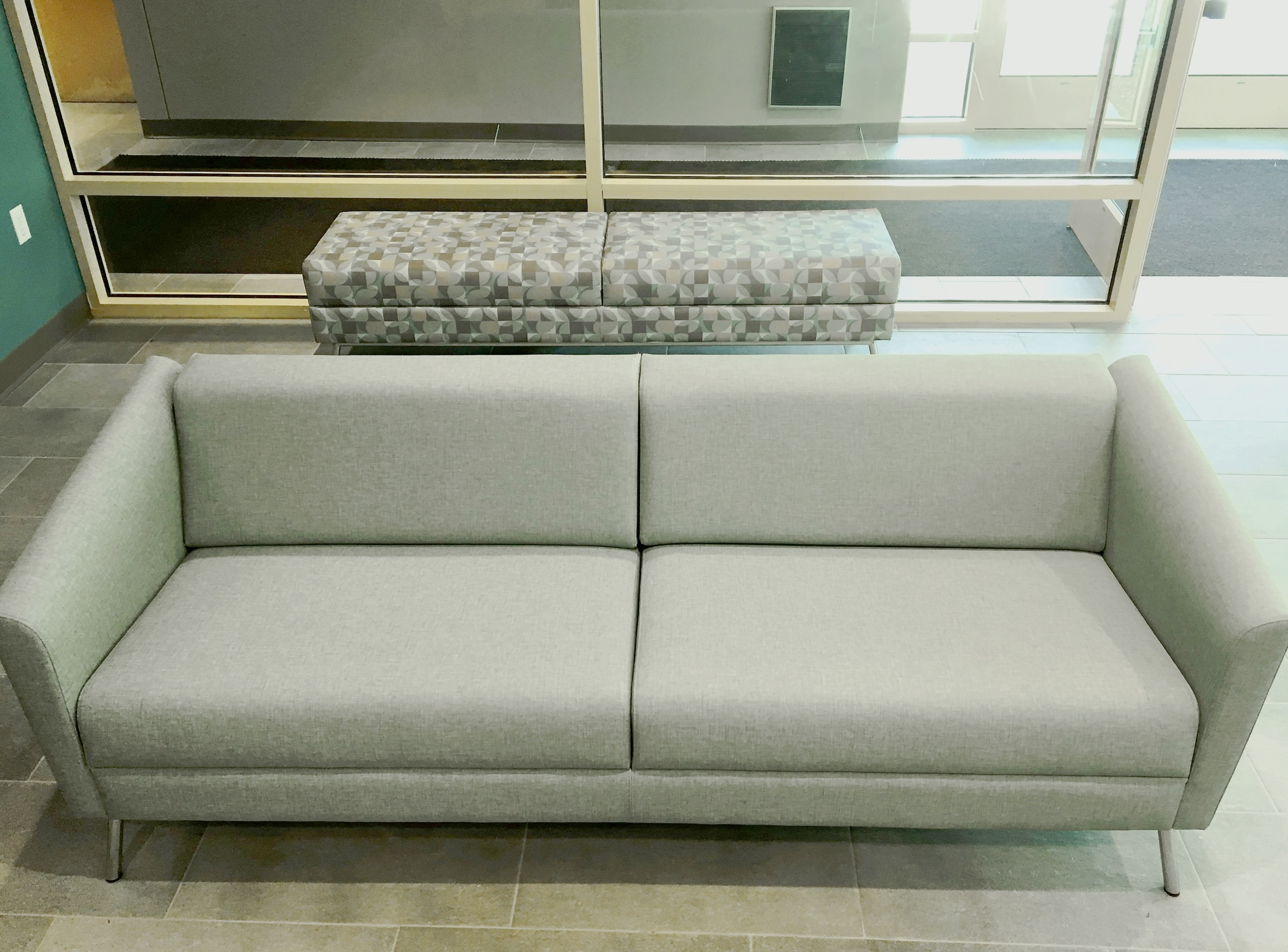 WIND Linear Sofa in Aquamarine Grade 6 Vinyl