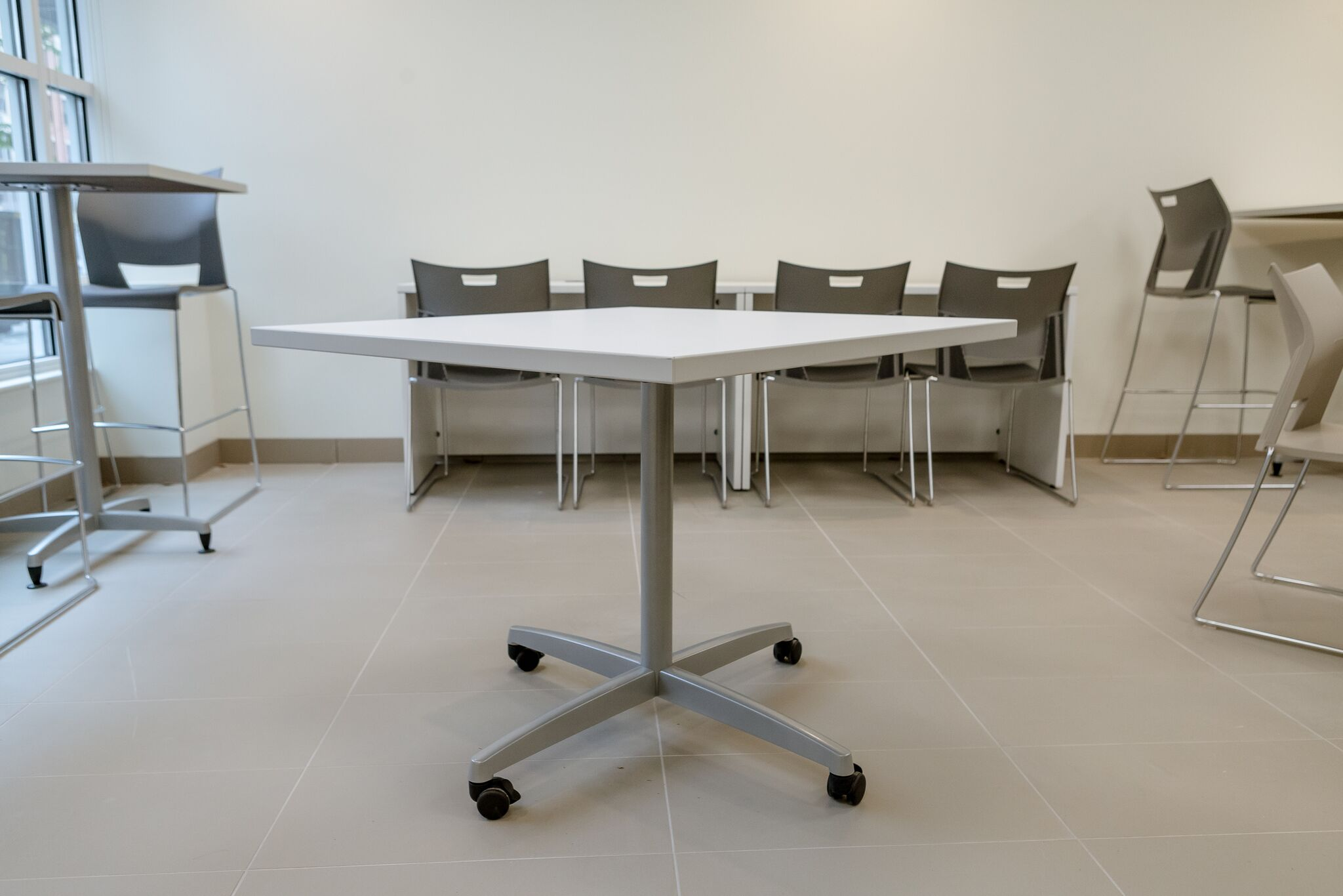 36x36 Laminate Top Table Silver Prep Base with Casters