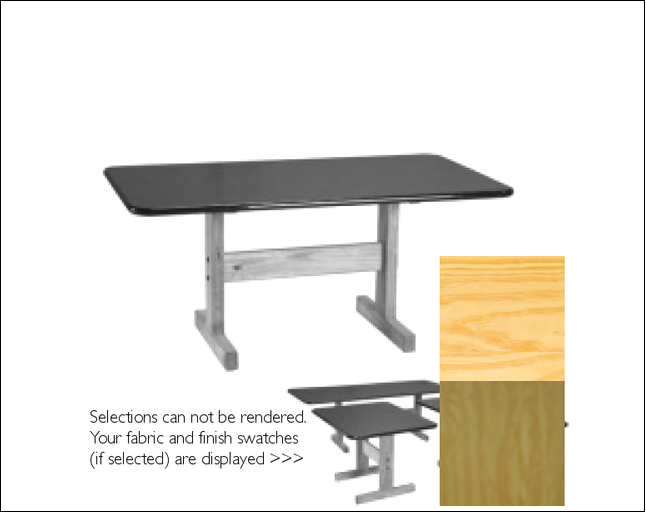 Laminate Top Table with Self Edge, Wood Base