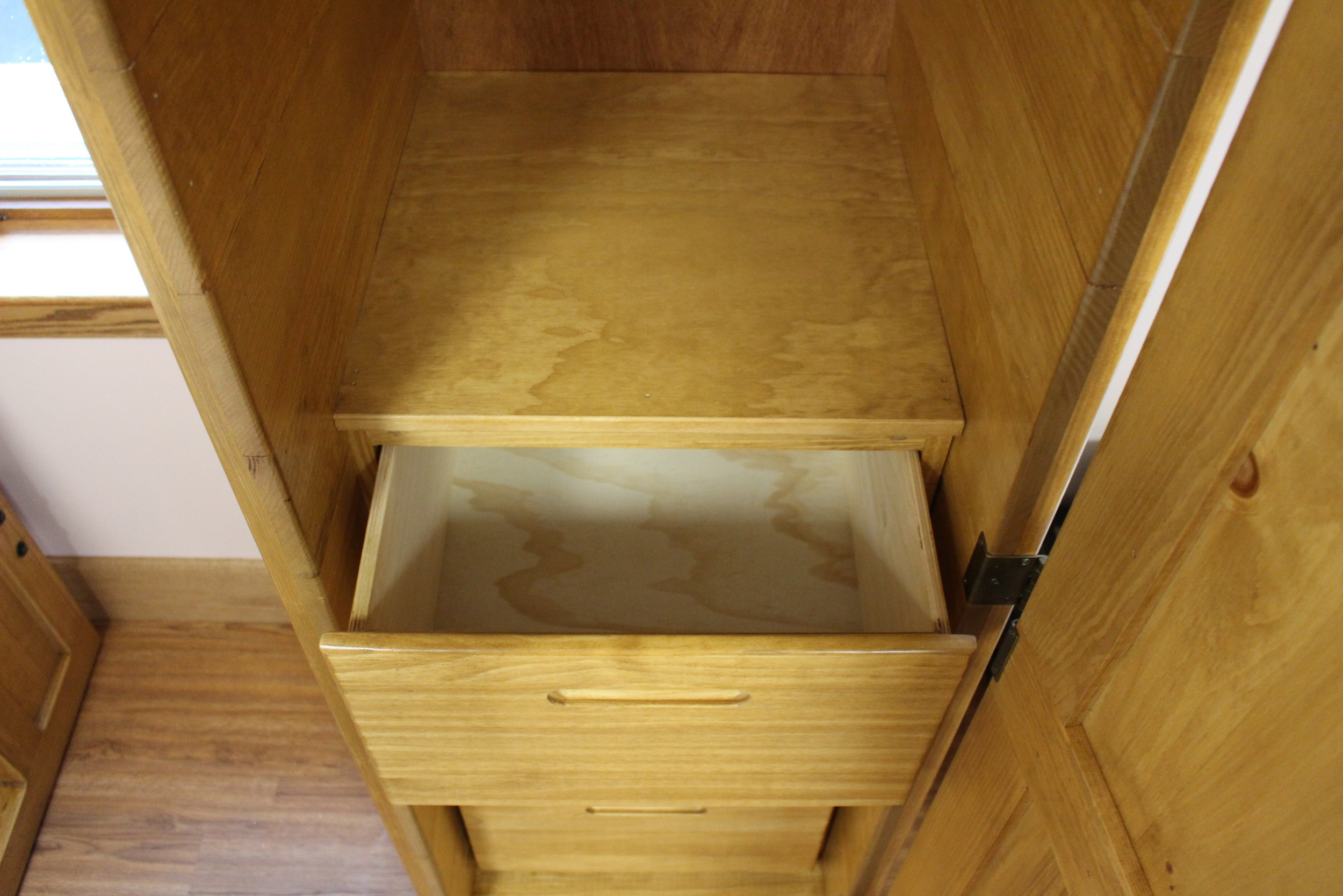 Wardrobe with Wooden Drawer Box (no metal hardware)