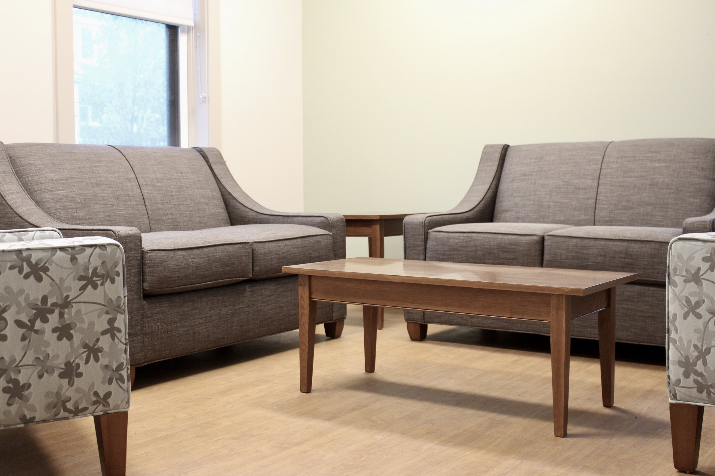 Carnegie Upholstery with Shaker Wood Tables