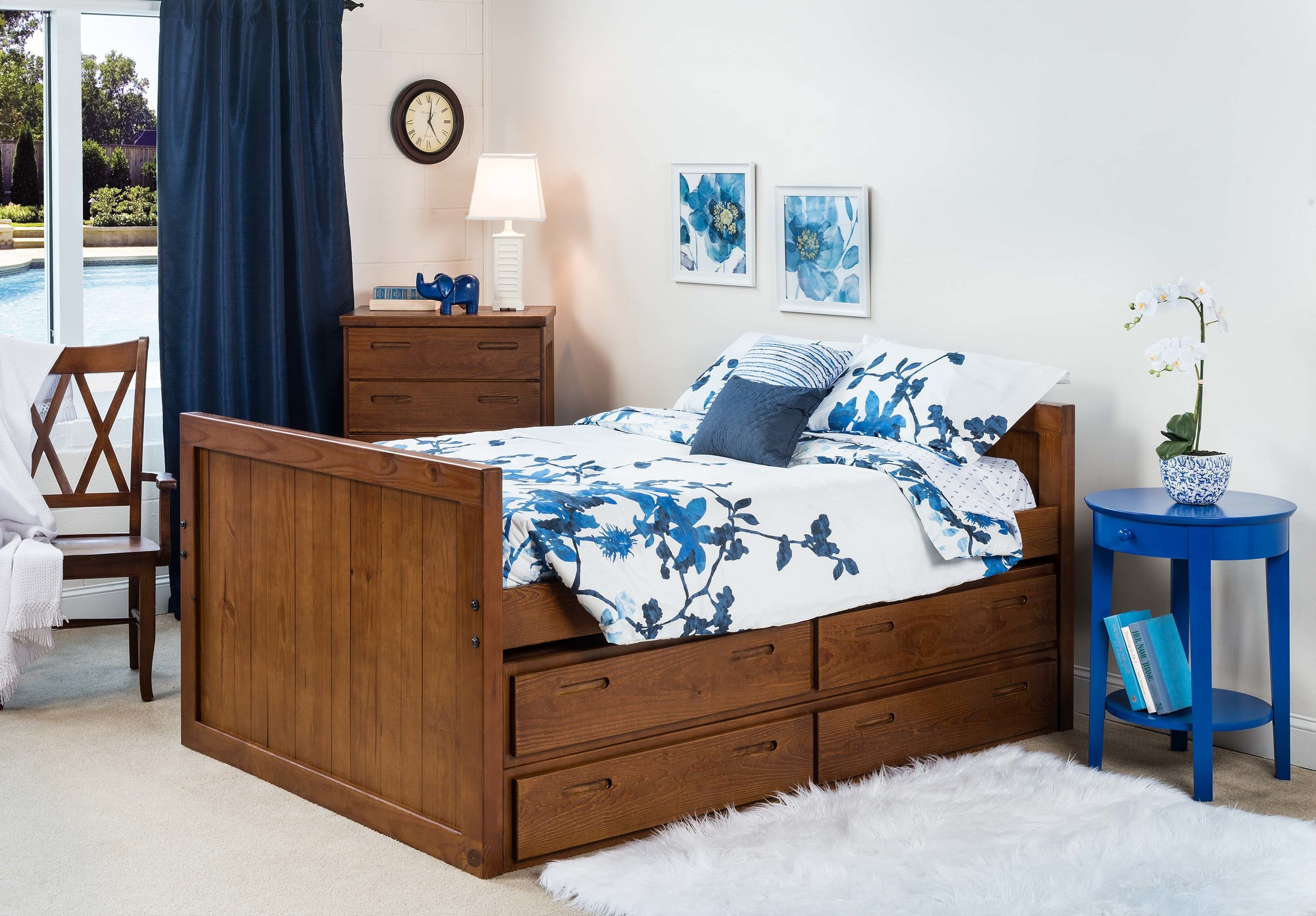 Full size captains bed in cherry