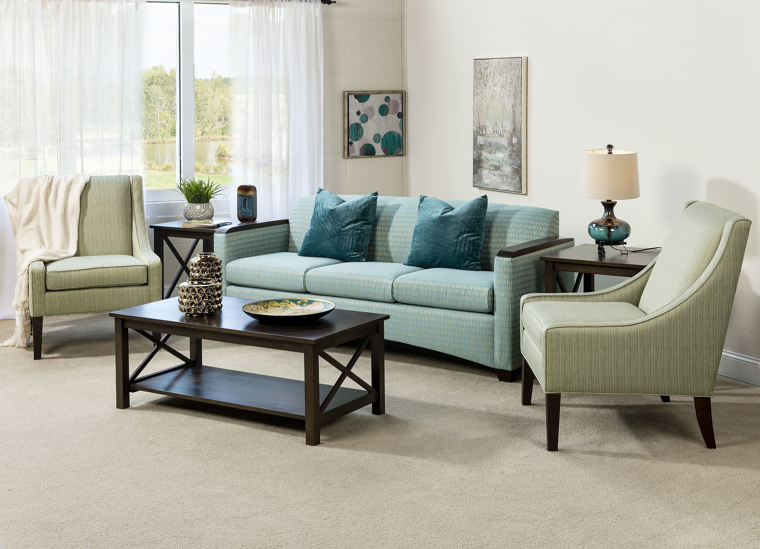 meadowbrook sofa with southport chairs and crossings tables