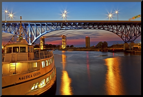 The cuyahoga river in cleveland, ohio, usa