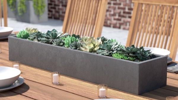 Stone plant boxes