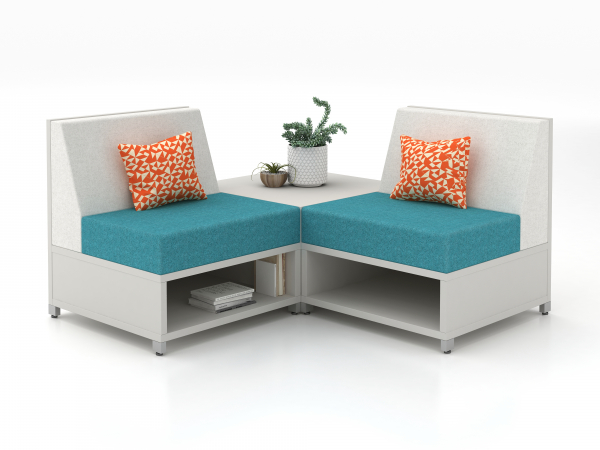 AIS option for Soft Seating option for window area- 4 LB Lounge Seat chairs, Square Laminate End Table (Can be set up in Straight Line)