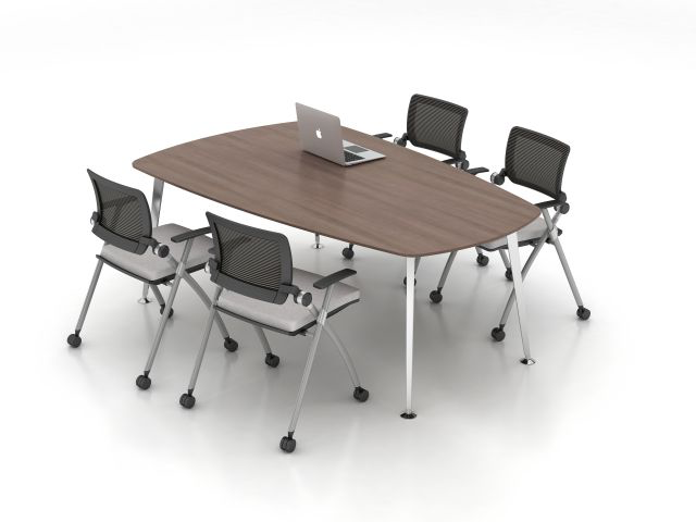 Shown Above - Stow chair with Day to Day wedge table with taperd post legs. quoted- day to day RECTANGULAR table tapered post legs with Potential to use mobile flip-top table in this location