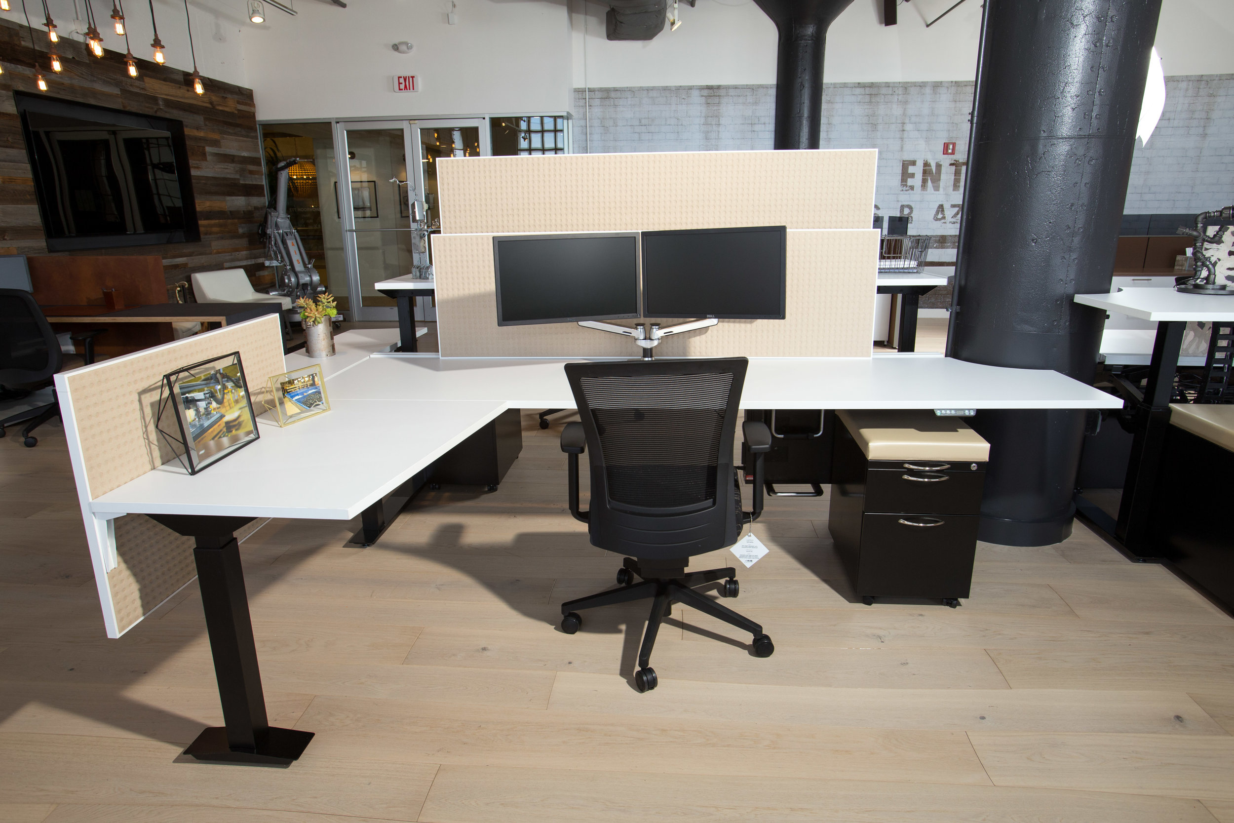 Aloft Desk System with privacy and modesty panels, mobil storage, height adjustable (customizable- potential to change size and storage options, panel media )
