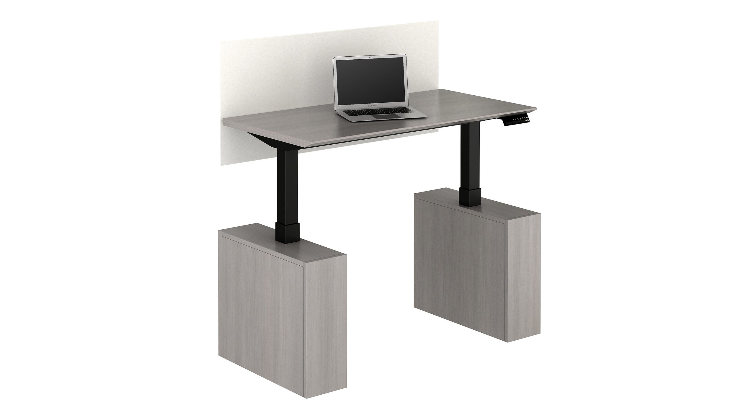 Hieght adjustable desk with privacy