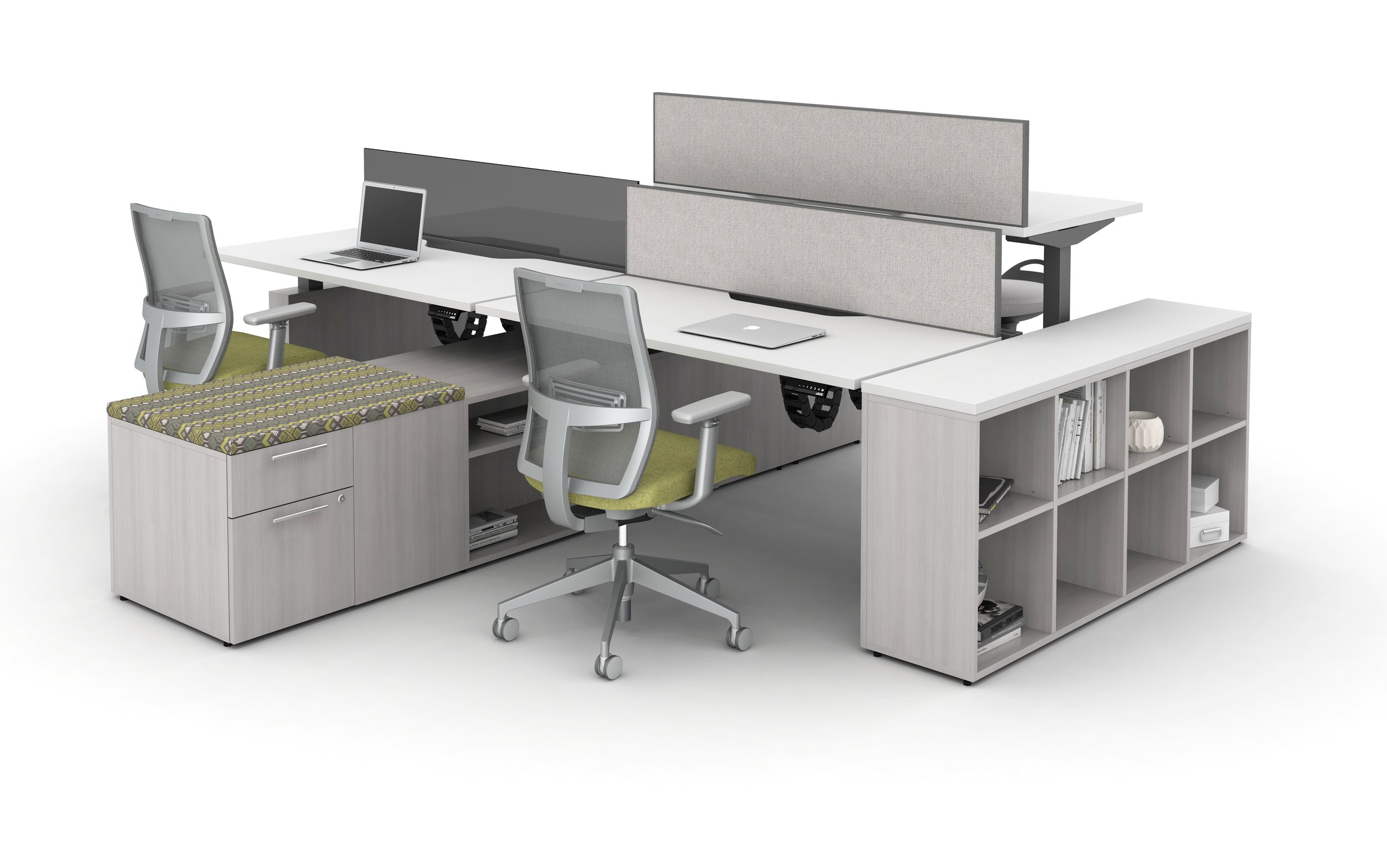 Aloft Height adjustable system with devens task seating and calibrate storage (quoting height adjustable desks across from each other)