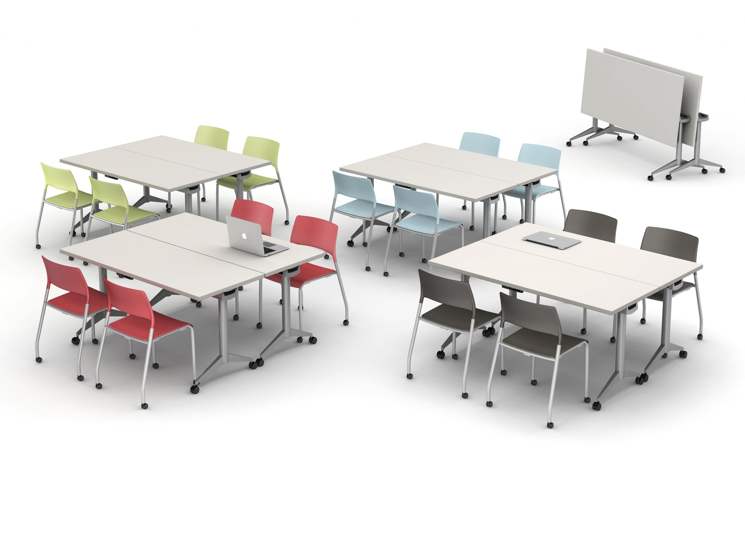 Flip top Table with Casters 30 x 60 & (2) Pierce Seating