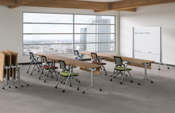 AIS COmputer bar idea - Counter height Narrow RECTANGULAR tables with aluminum t base 18 x 42 (use pierce stools)