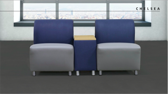 Moduform option for entry area seating - Chelsea with out arms. Chelsea is a AVAILABLE with a tablet or with a Matching end table. Available on casters and option for locking mechanism