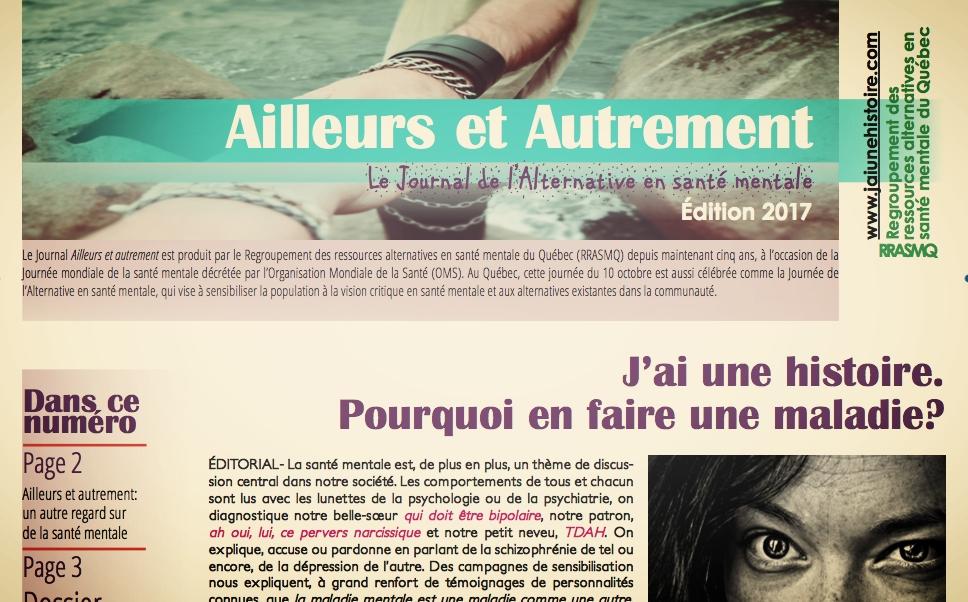 La couverture du Journal Ailleurs et autrement 2017.