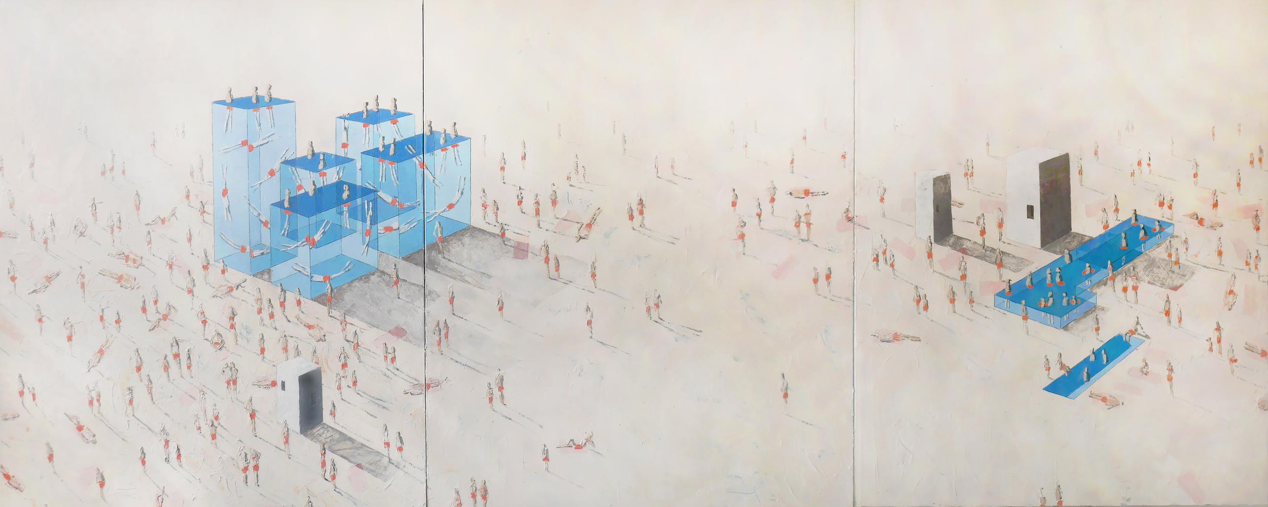 Pools 92W-98W      Villas 21J-23J  Oil on canvas  120 X 60 ins