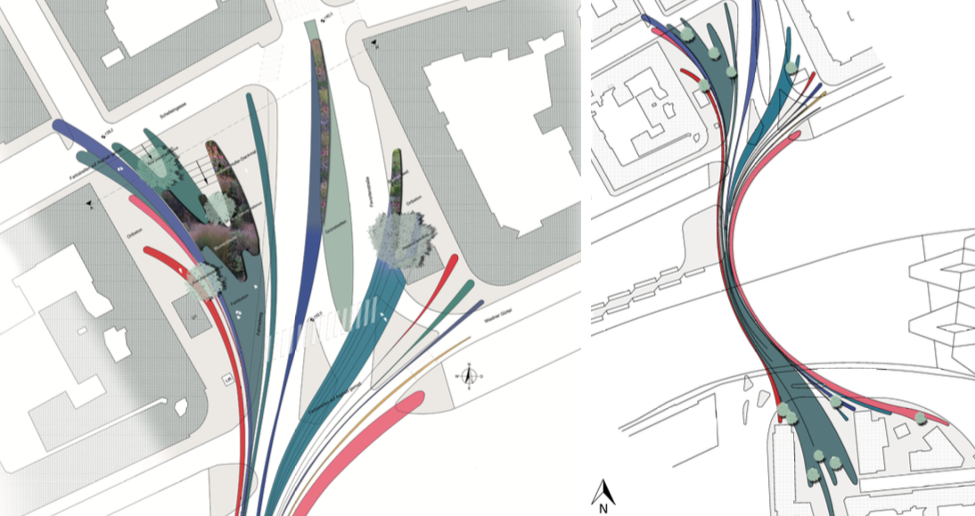 Landscape Architecture Project Plan  made in AutoCAD and Photoshop for a University project in Vienna, Austria.