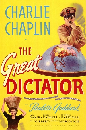 Charlie Chaplin, 1940    The Great Dictator  is a 1940 American political satire comedy-drama film written, directed, produced, scored by and starring Charlie Chaplin, following the tradition of many of his other films. Having been the only Hollywood film-maker to continue to make silent films well into the period of sound films, this was Chaplin's first true sound film. Chaplin plays both leading roles: a ruthless fascist dictator and a persecuted Jewish barber.  Chaplin's film advanced a stirring, controversial condemnation of Adolf Hitler, Benito Mussolini, fascism, antisemitism and the Nazis. At the time, the United States was still formally at peace with Nazi Germany.