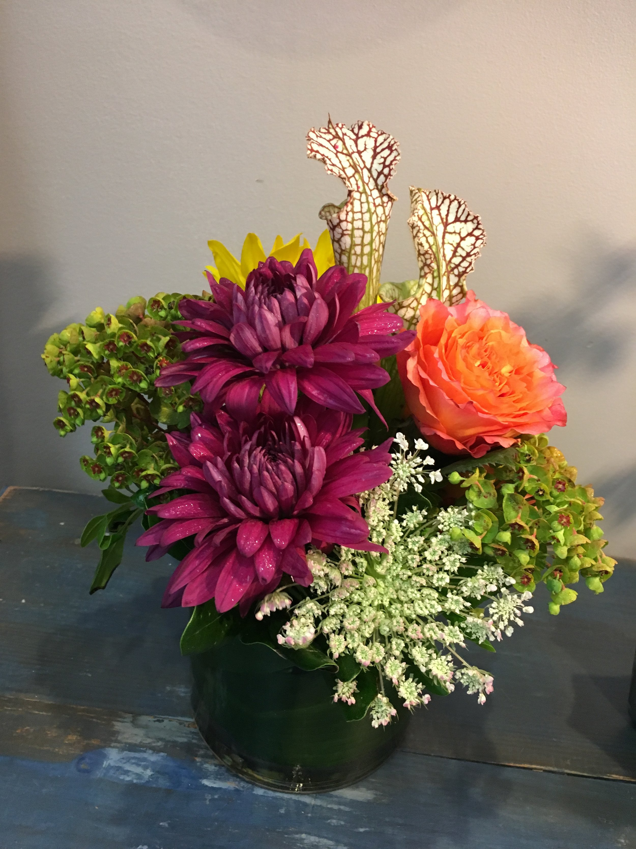 Standard - Seasonal mix of florals in a 4 or 5 inch vase.$30-45*Pictured arrangement $30