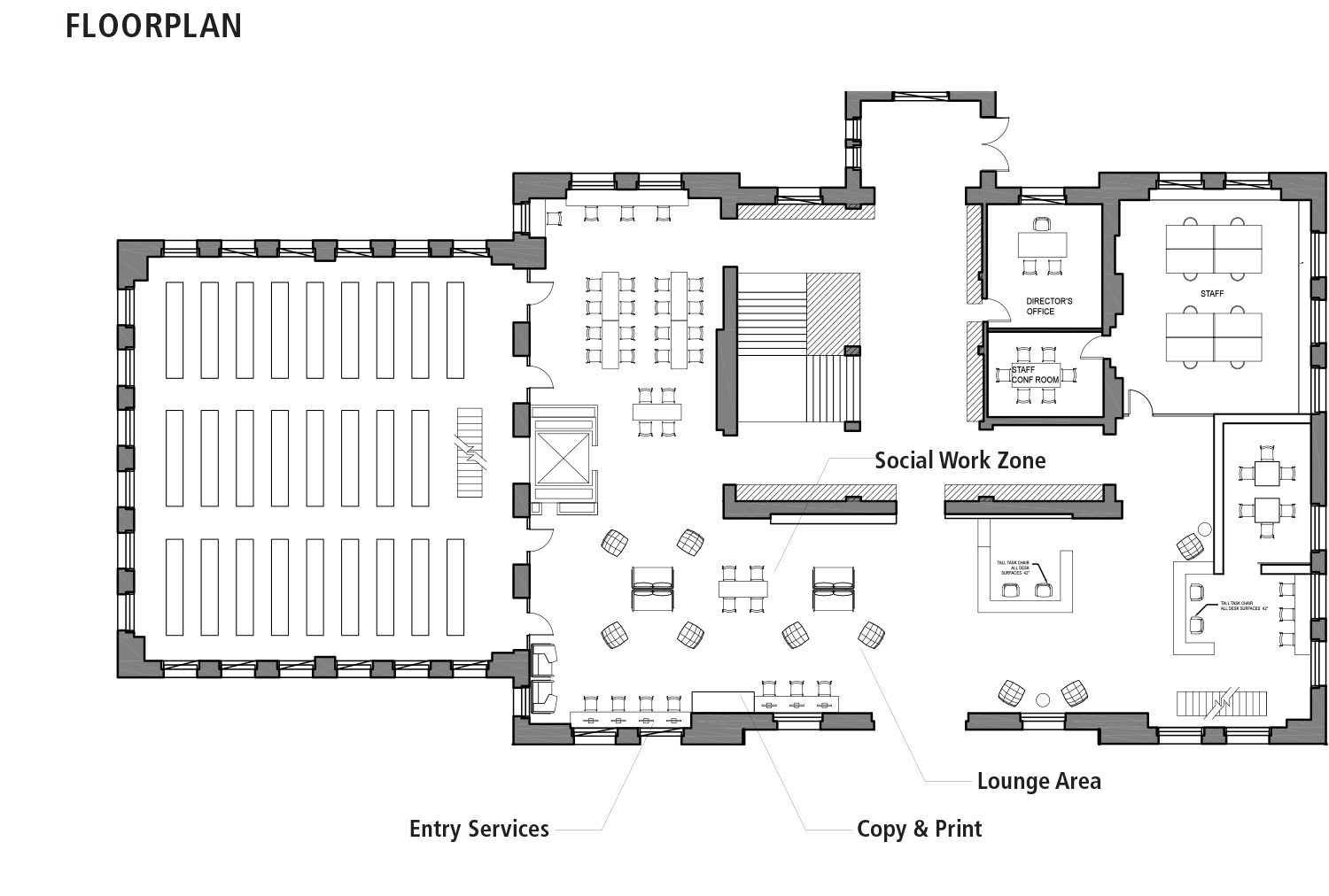 We relocated the most utilized services in the library, such as the copy and print station, to be more easily visible and accessible immediately after entering. Through different material, furniture and color choices, we zoned the first floor into different areas for group and individual study, with the individual work stations placed farther from the entry.