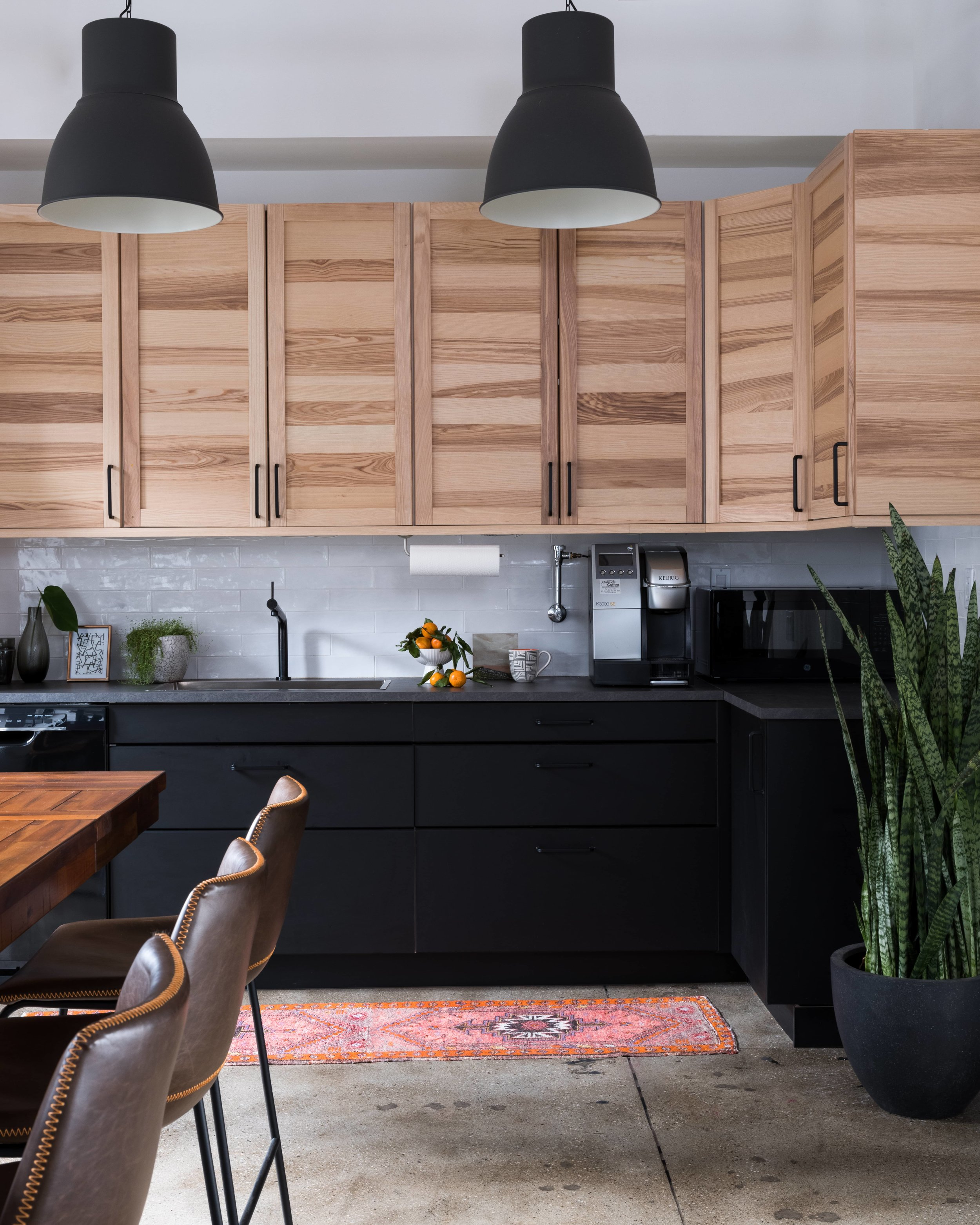industrial office interior design with ikea kitchen by Lorla Studio NYC