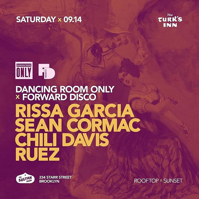 Next Saturday! ** Posted @withrepost • @dancingroomonlynyc #justannounced @dancingroomonlynyc x @forwarddisco @thesultanroom Roof w/ @rissancr / @seancormacnyc / @chilidavisnyc & @ruez_nyc Celebrating birthdays, new @nightchildnyc various artist release and life in general ..... 😊 #dancingroomonly #brooklyn #dance #events #dancingisencouraged
