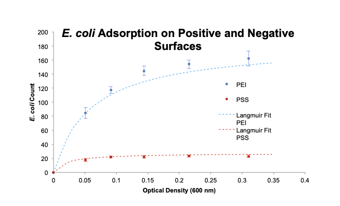 Comparing  E. coli  cells counts on positive and negative surfaces with Langmuir adsorption isotherms.