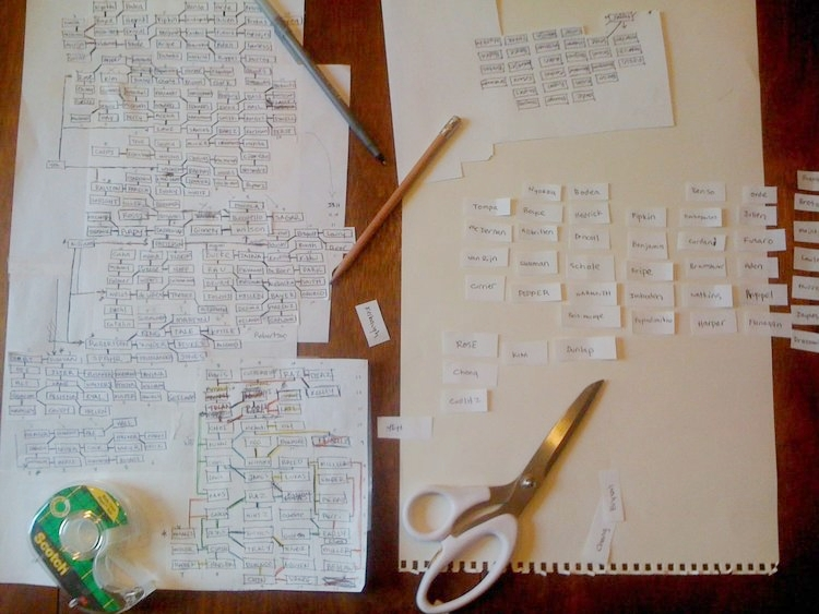 An early physical prototype of the exhibition map. Each slip of paper is the last name of a participating artist.