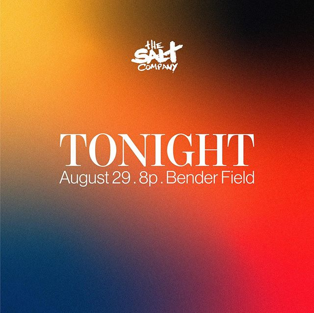 THE DAY IS FINALLY HERE! Come as you are and join us TONIGHT on BENDER FIELD at 8pm for a night of worship, teaching and gospel centered community! Invite everyone you know, we can't wait to see you there!
